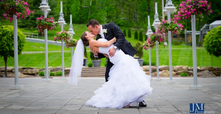 Newlyweds at ceremony site at wedding venue in pennsylvania