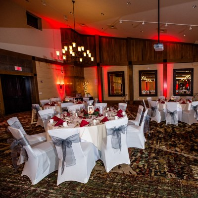 Ballroom with red uplighting