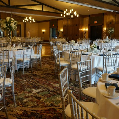 Ballroom set for wedding
