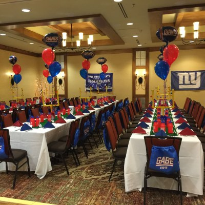 NY Giants Bar Mitzvah Set Up