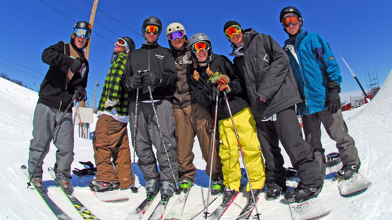 group of skiers out on the mountain