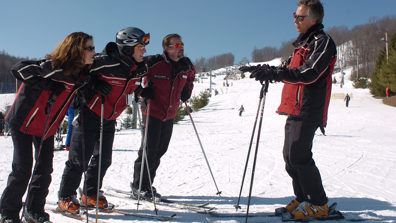 ski instructors during a lesson