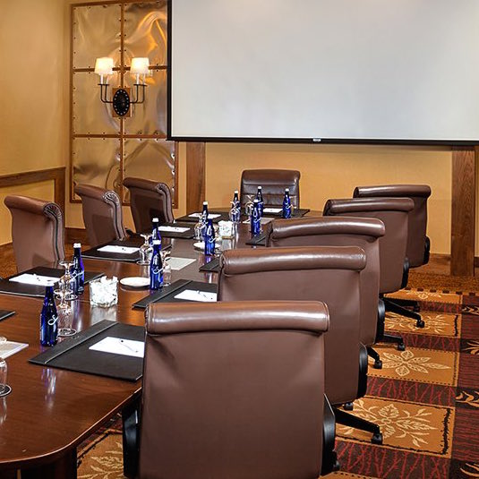 Conference room setup for business meeting
