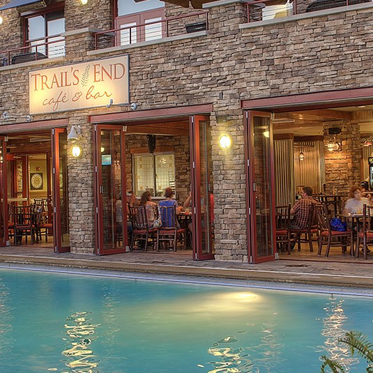 Pool with Trails End restaurant behind